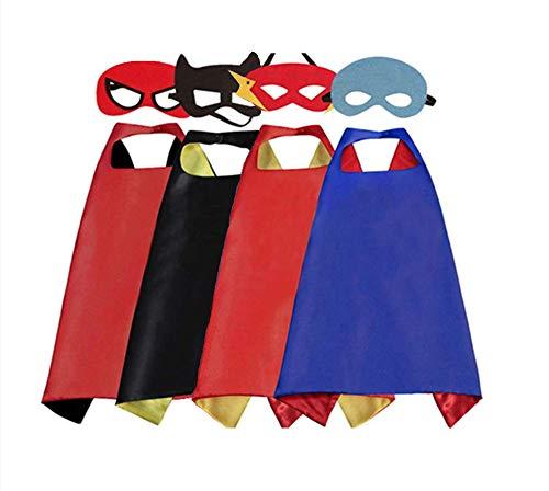 Koobea 4 pezzi costumi supereroi per bambini - regali di compleanno - costumi carnevale mantelli e maschere giocattoli per bambini e bambine