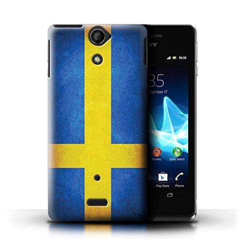 Kobalt® Imprimé Etui / Coque pour Sony Xperia V/LT25i / Uruguay/Uruguayen conception / Série Drapeau Suède/suèdois