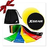 XGEAR Bandas Elásticas/Cintas de Resistencia Fitness y Discos Deslizantes, Set de 5 Gomas Elásticas y 2 Sliders para Yoga, Crossfit, Pilates, Estiramientos y Fisioterapia