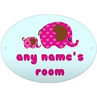 Personalised Mum & Baby Elephants Hearts Door Plaque Birthday Christmas Daughter Gift Idea Room
