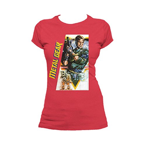 Metal Gear Box Art US Official Women's T-Shirt (Red) (Large)