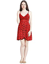 Freely Polka Dotted Red Satin Babydoll Nightdress