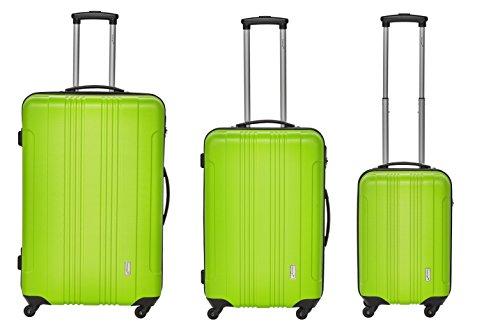 Packenger Kofferset - Torreto - 3-teilig (M, L & XL), Grün, 4 Rollen, Koffer mit Zahlenschloss, Hartschalenkoffer (ABS) robuster Trolley Reisekoffer