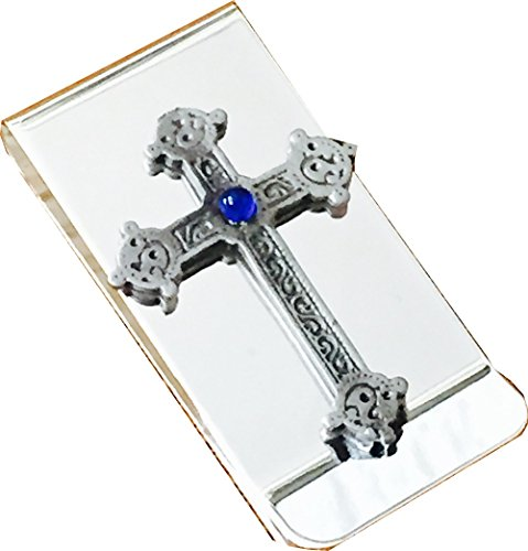 chrome-polished-money-clip-with-pewter-celtic-cross-with-blue-stone-emblem
