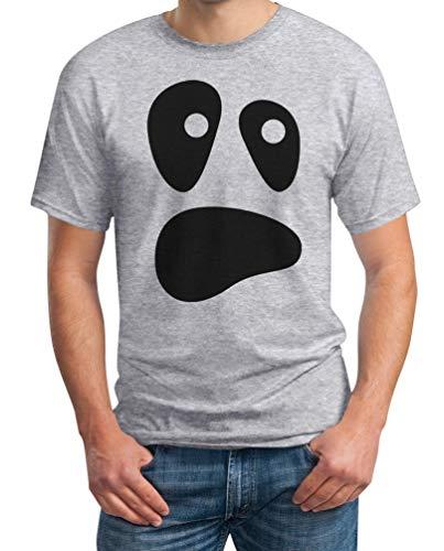 Ghost Killer Kostüm Face - Witzige Ghoul Face Halloween Ghost Kostüm Männer Herren T-Shirt XXXXX-Large Grau