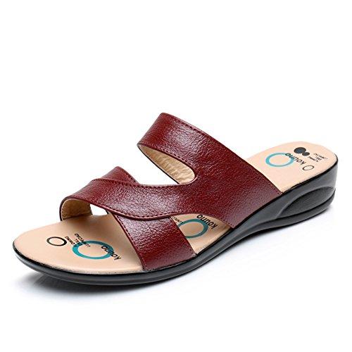 Leder sommer sandalen/Flache rutschfeste weiche bodenabnutzungssandalen B