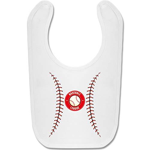 Shirtracer Karneval und Fasching Baby - Baseball Kostüm - Unisize - Weiß - BZ12 - Baby Lätzchen Baumwolle