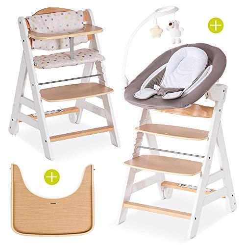 Hauck Beta Plus Newborn Set Deluxe - Trona evolutiva con Hamaca reclinable y móvil, cojín y bandeja - Trona bebe convertible- Silla Trona Madera haya - Blanco/Natural