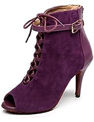 Minitoo QJ6179 en dentelle pour femme Motif écoles de danse latine chaussures en daim