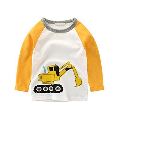 Luerme Kleinkind Kinder Jungen Baumwoll T-Shirt Karikatur Fahrzeug Muster Beiläufiges Lange Ärmel Tops (2-3 Jahre, Bagger)