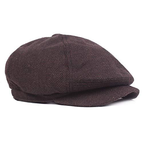 Männer Frauen Herbst Vintage Woolen Zeitungsjunge Kappe Maler Hut Cabbie Hut Gatsby Beret Stern Retro-Fahren Hut,B