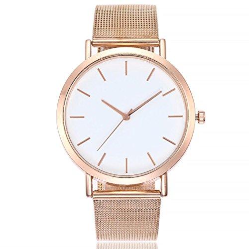 PLOT Damen Quarzuhr Ziffern | Stahlband Uhren | Armbanduhren Für Frauen | Geschenke Für Frauen | Einstellbar Uhrenband | Quarzwerk | 20mm Bandbreite | 40mm Gehäusedurchmesser (Roségold)
