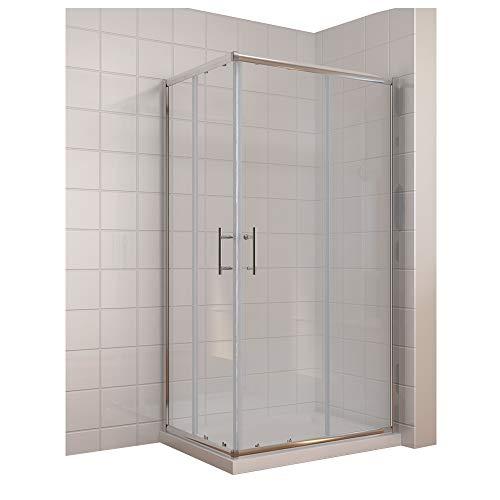 duschtrennwand eckeinstieg Duschkabine/Duschabtrennung 100x80cm Eckeinstieg mit Duschwanne Doppel Schiebetür Echtglas