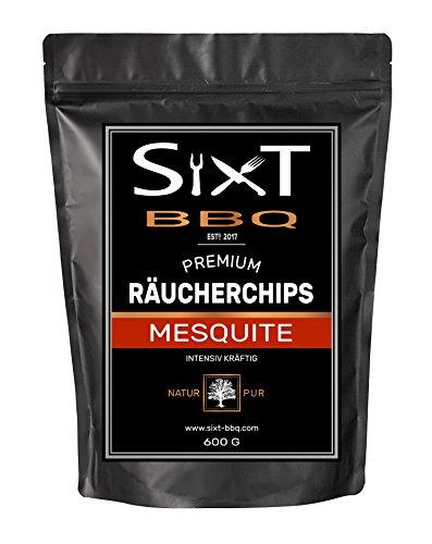 Räucherchips MESQUITE PREMIUM Original von Sixt-BBQ, Wood-Chips für Kugelgrill & Barbecue, Rauch durch Holz-Späne, natürlich kräftiger Geschmack, für Gas/Elektro/Kohle-Grill