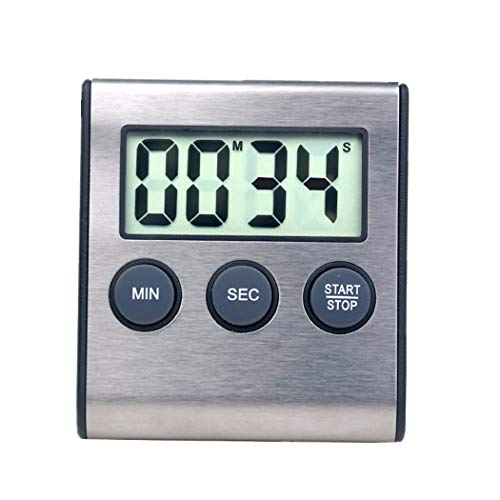 Digitaler Küchen-Timer Wecker für Küche Gerät 24hour Wecker Count-up Count Down-Timer für Küche, Medizin Stainless Steel Black
