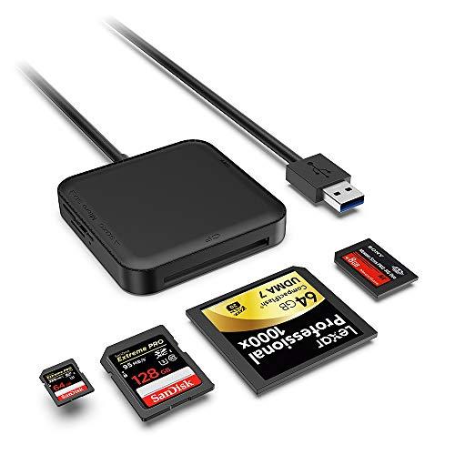 senpusi usb 3.0 lettore schede card reader 5gbps legge contemporaneamente 4 schede da 512g supporta schede di memoria tf, sd, cf i, ms, sdhc, sdxc, micro sd, micro sdxc, micro sdhc