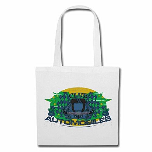Tasche Umhängetasche Automobil Club Race Racing Formel Motor Team Speed Speedway Classic American Einkaufstasche Schulbeutel Turnbeutel in Weiß - Automobil-motoren