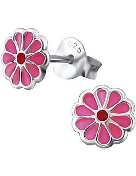 Laimons Kids Kinder-Ohrstecker Kinderschmuck Blume Pink, Rot Sterling Silber 925
