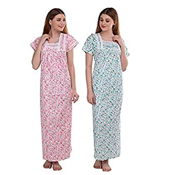 CIERGE Women's Cotton Maxi Nighty (Pack of 2) (CIERGE-COMBO-LACE-NIGHTY_Pink & Green)
