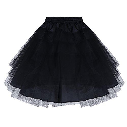 YiZYiF 3 Ringe Kinder Reifrock Mädchen Unterrock Tüll Krinoline Petticoat Ballettrock Schwarz/Weiß Schwarz One ()