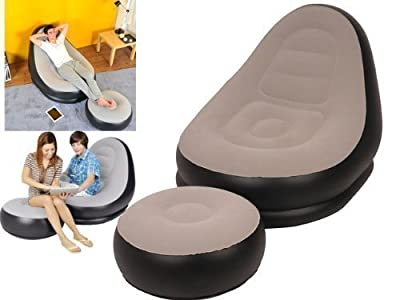Inflatable Deluxe Lounge Lounger 1 Person Chair With Ottoman Foot Stool Rest- Pouffe - Seat Relaxer Single Couch