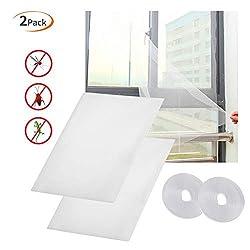 Fenster Moskitonetz Fliegengitter - TSYMO 2er Zuschneidbar Mückenschutz Mückennetz, 130x150cm Insektenschutz ohne Bohren, Durchsichtig Fliegennetz Fensternetz mit 2er Selbstklebebändern, Weiß