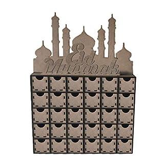 Amarzk Calendario De Adviento Madera MDF Eid Mubarak Regalo DIY Decoracion Ornamento Islámico Musulmán