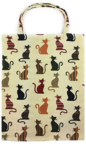 robuste Canvas-Einkaufstaschen Tasche Beutel Bag Jute Stoff Shopper Henkel Trage Einkäufe Weiss Katzen