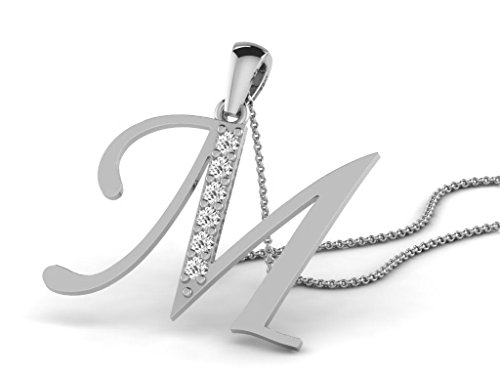 Or Blanc 9 ct Pendentifs Diamant en forme de M alphabet, 0.13 Ct Diamant, GH-SI, 0.88 grammes.