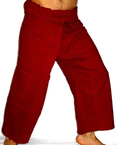 Fisherman Thaï Pantalon Pêcheur Homme Yoga Taille unique Yoga tissu épais rouge bordeaux