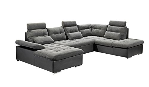 Stella Trading Jakarta U Sofa 3-Teilige Ecke Ecksofa, Lederimitat, schwarz/grau, 170 x 324 x 107 cm -