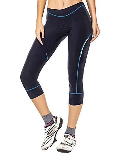 Damen Radhose Fahrradhose Cycling Hose 3/4 Radsportshorts für Frauen Elastische Atmungsaktive 3D Schwamm Sitzpolster mit Einer Hohen Dichte (Schwarz& blau, M)