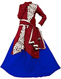 BHOOMI EXPORT Girl's Multicolor Silk Semi-Stitched Dress,Salwar Suit,Gown,lehengha Choli Unstitched Dress Material (Kid's Free Size 8-9 Year_Pink Butta)