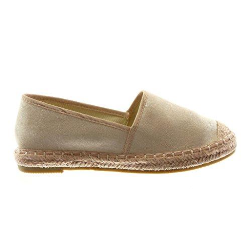 Angkorly Damen Schuhe Espadrilles - Slip-On - Seil - Geflochten Blockabsatz 2 cm Rosa