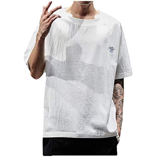 Zolimx Herren Kurzarm Leinen Hemd Henley Kurzarm Hemd T-Shirt Freizeit Hemden Sommer Hemd, Männer Sommer Casual Stickerei Bettwäsche aus Baumwolle Oansatz Kurzarm T-Shirts Tops -