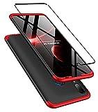DECHYI compatibles para Funda Huawei P Smart 2019,Cubierta + Cristal Templado Matte Ultra Slim PC Hard-Protección del Cuerpo Scratchproof Cubierta-Negro Rojo