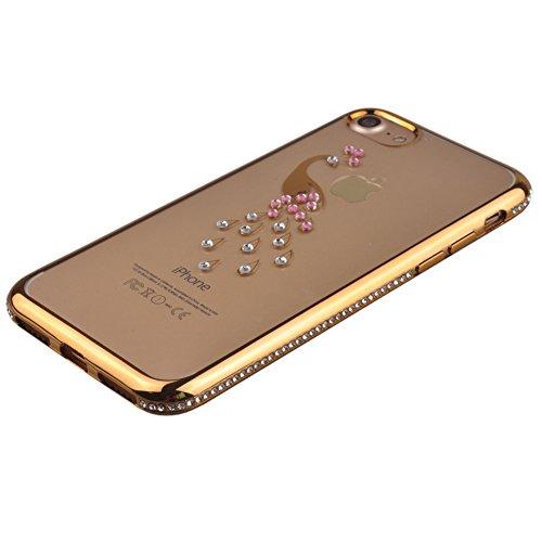 Voguecase® für Apple iPhone 7 Plus 5.5 hülle, Schutzhülle / Case / Cover / Hülle / TPU Gel Skin (Katzenbär Muster/Lila) + Gratis Universal Eingabestift Gold Grenze/Pfau 02