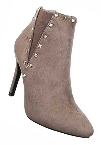 Damen Ankle Boots Schuhe Stiefeletten Mit Nieten Schwarz Grau Braun 35 36 37 38 39 40 Hellbraun