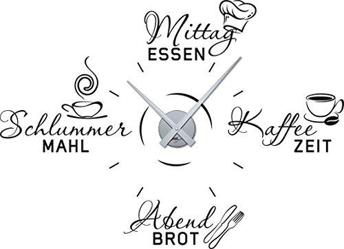 GRAZDesign Wandtattoo Uhr Wanduhr mit Uhrwerk für Küche Spruch Mittagessen Kaffee-Zeit - Küchenuhr / 79x57cm /...