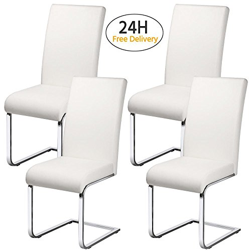 Popamazing Set of 4 Faux Leather Dining Chair With Chrome Legs & High Back Kitchen Dining Room Furniture White