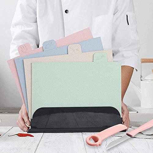 Kuty Tabla Cortar, Tabla de Cortar con Cuchillo, Juego de 4 Tablas de Cortar codificadas por Colores, tableros de Corte de plástico con Iconos de Alimentos