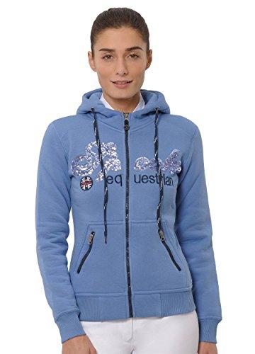 SPOOKS Damen Sweatjacke, Kapuzen-Jacke Mädchen Kinder Frauen, Zipper Hoodie - Sommerjacke bequem & anschmiegsam, Roxy Sequin Jacket - Blau XS
