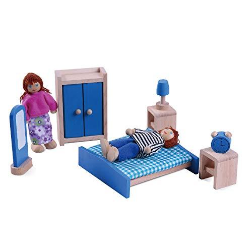 Wdxin casa delle bambole puzzle giocattolo mini mobili giocattolo per bambola da tavolo e poltrona letto in legno mobili giocattolo da cucina,b
