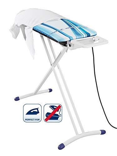 Leifheit Bügeltisch Airflow M Solid Plus, höhenverstellbares Bügelbrett mit Aufblasfunktion, 120 x 38 cm Bügelfläche, inkl. Bügelbrettbezug mit Dampf- und Hitzereflektion für Dampfbügeleisen