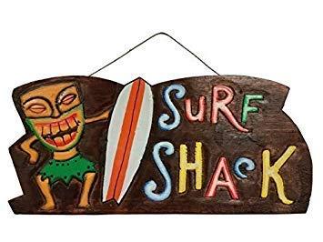 qidushop Holzschild Surf Shack, handgeschnitzt und bemalt Wanddekoration, mit Spruch -