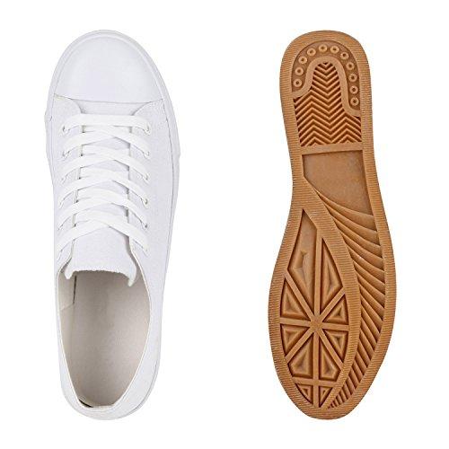 Freizeit Herren Sneakers Low Canvas Schuh Weiß