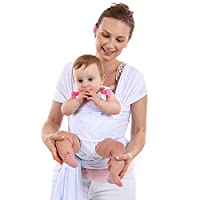 Amody Cotton Baby Wearing Wrap for Newborns Infants Toddlers Baby Carrying Wrap Up to 45lbs Baby Sling Mesh White