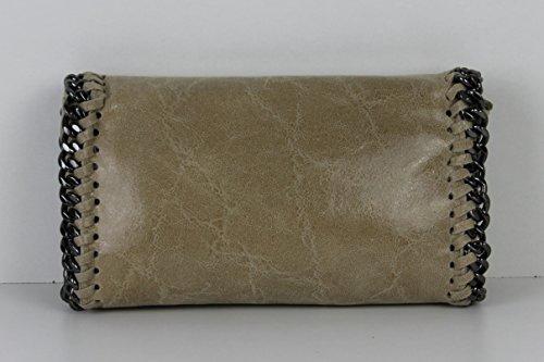 Pochette da donna, Lani, piccola, effetto pelle, glitter, effetto metallizzato, con catenella, Schwarz Glitzer Big (nero) - 1211161254 Sand Echtleder