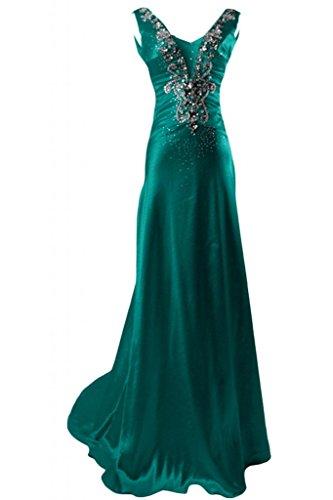 Sunvary Charmeuse senza maniche con collo a V, con fondina, per abiti da sera Gowns sera Verde scuro