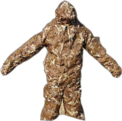 Camo Wool (Mitefu Free Size Breathable Ghillie Suits Hunting Shooting Training Camo Ghillie Bird Watching Jungle Wool Bionic Camouflage Suit,three-piece suit,Desert)